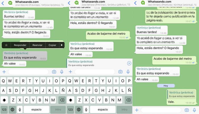 citar o responder mensaje whatsapp en un grupo