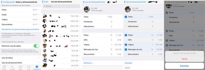 pasos para liberar el espacio de Whatsapp en sistema operativo IOS